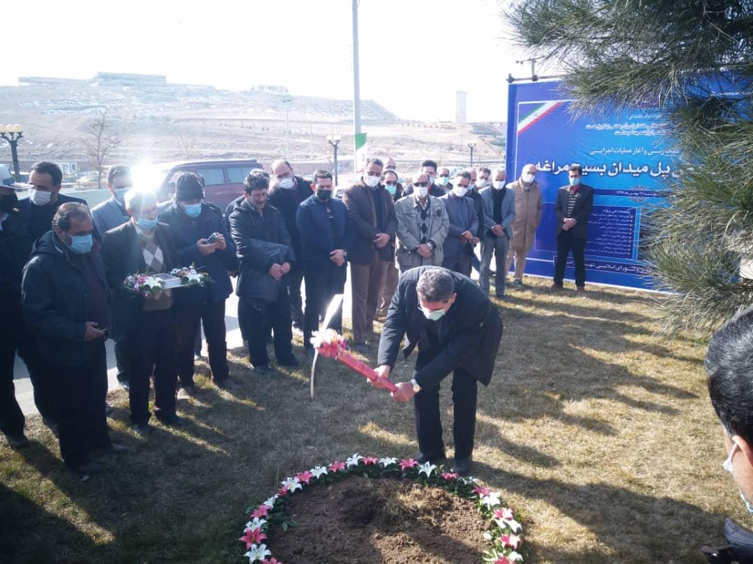 مراسم کلنگ زنی پروژه تعریض پل میدان بسیج مراغه